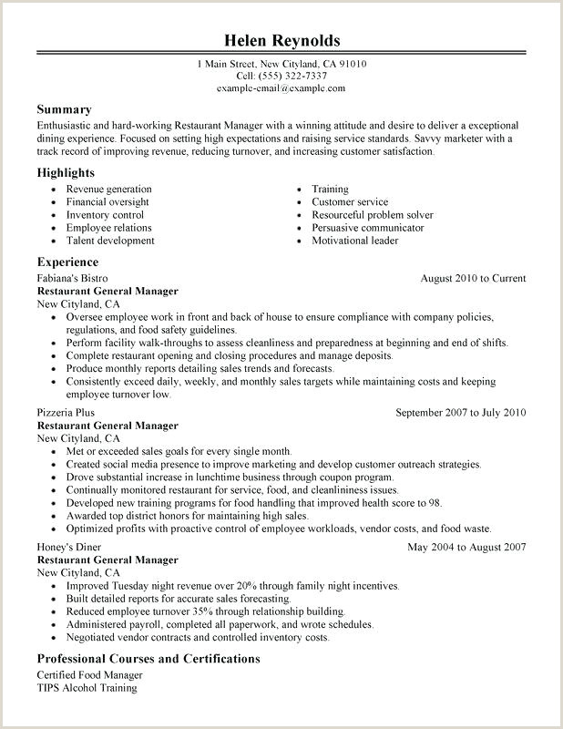 resume template for restaurant – traveleesi