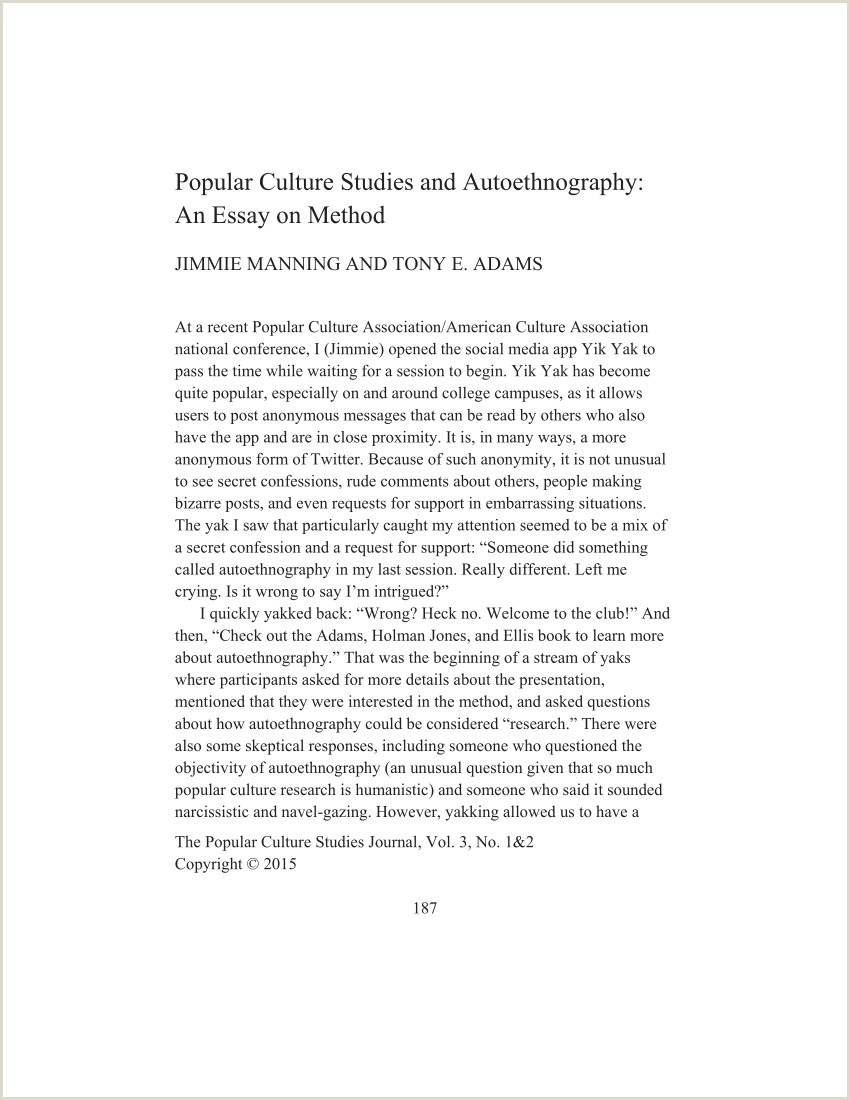 PDF Popular Culture Stu s and Autoethnography An Essay