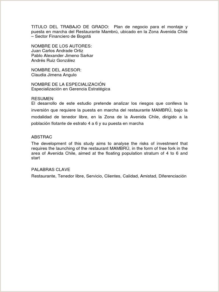 Tesis Plan de Negocio de Restaurante Mambru pdf