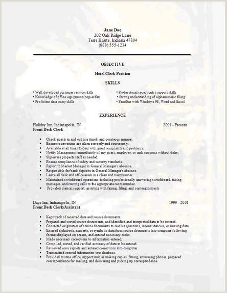 File Clerk Resume Objective Hotel Clerk Resume Occupational Examples Samples Free Edit