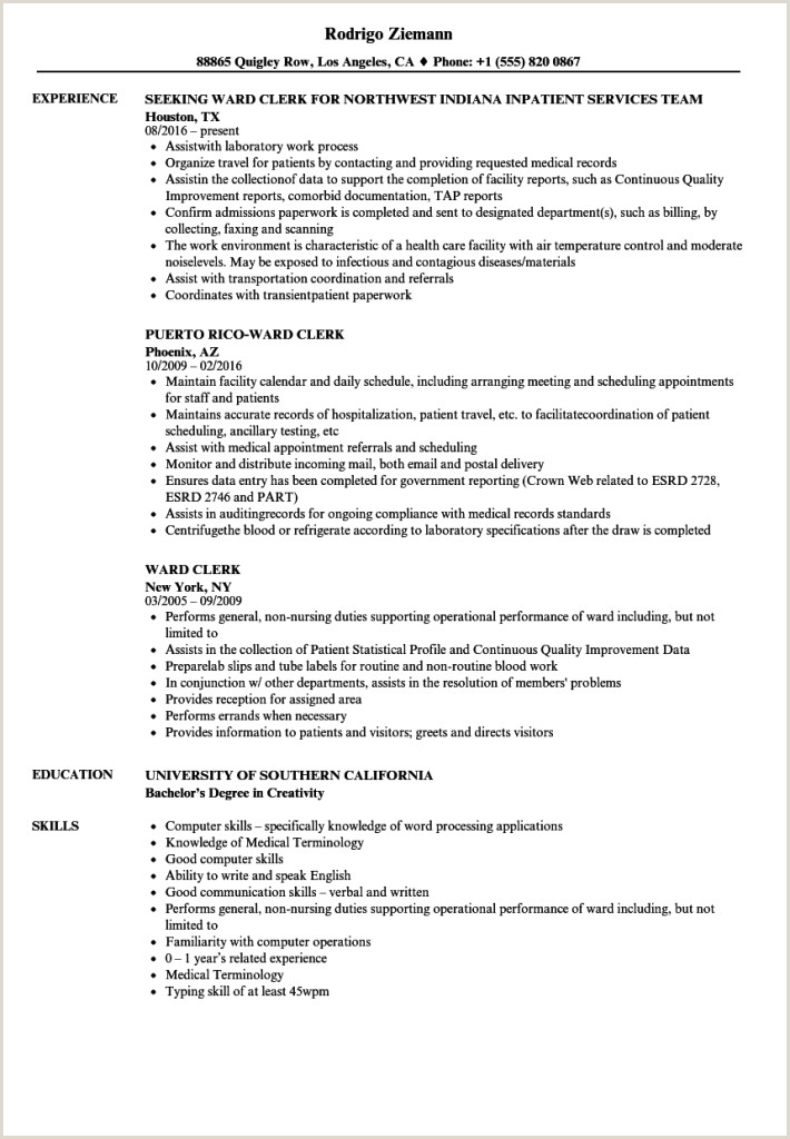 File Clerk Resume Objective Medical Clerk Resume Templates Records Template Ficest