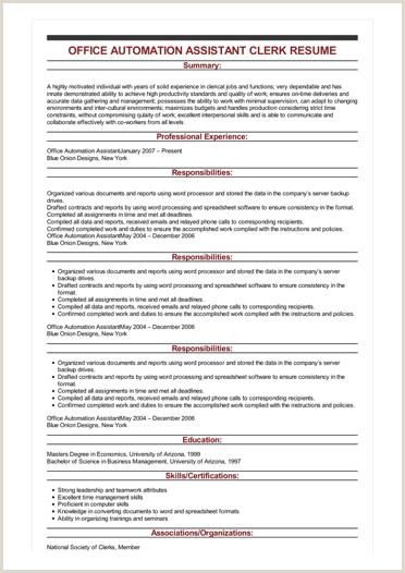 File Clerk Resume Objective Sample Fice Automation assistant Clerk Resume