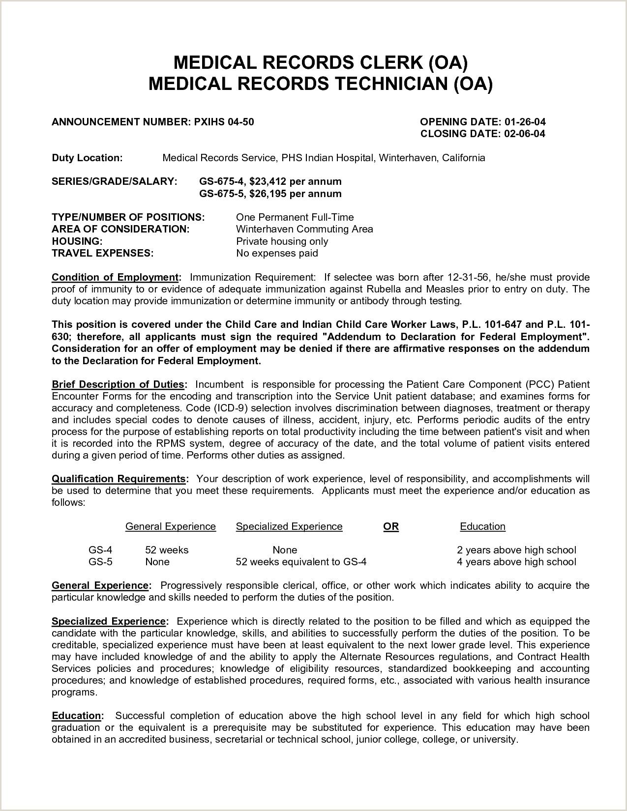 Medical Records Clerk Resume Templates Job Sample Template