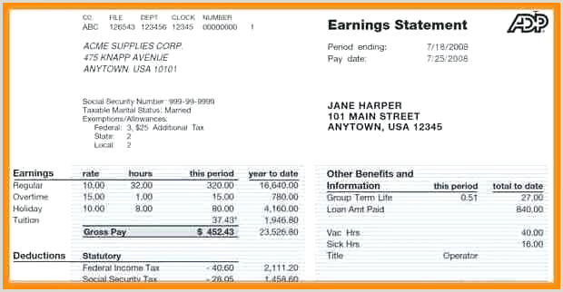 Blank Paycheck Template Pay Stub Printable Adp Excel