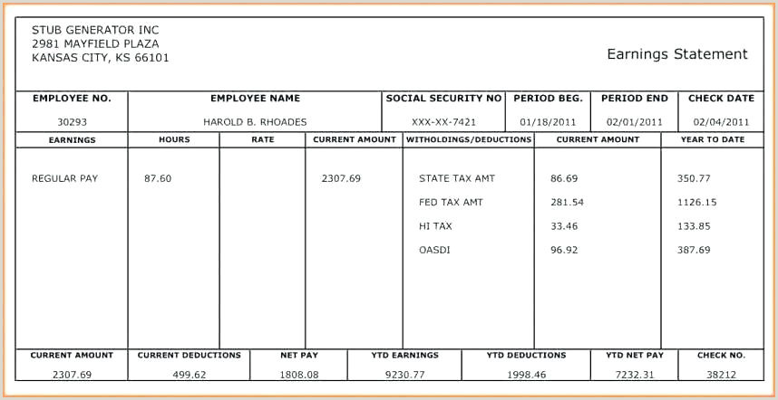 Fillable Adp Pay Stub Paycheck Stub Template Pay Stub Template Excel Paycheck Stub