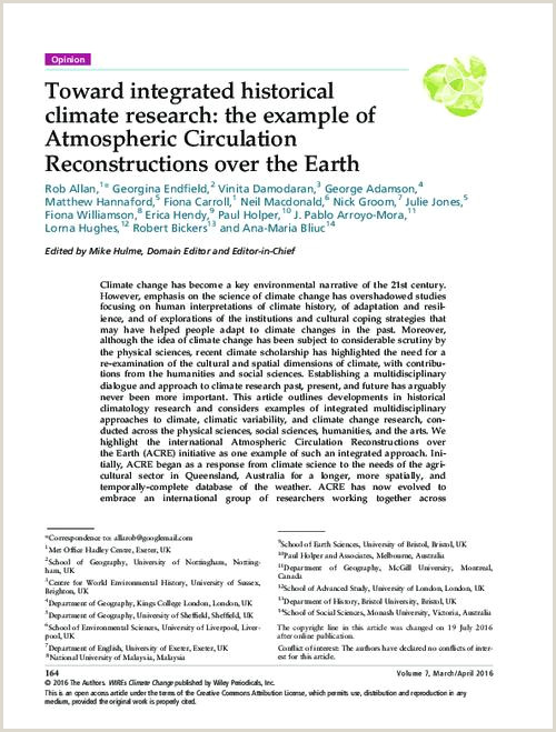Toward integrated historical climate research the example