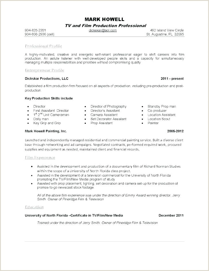Film Crew Resume Template Film Cv Template