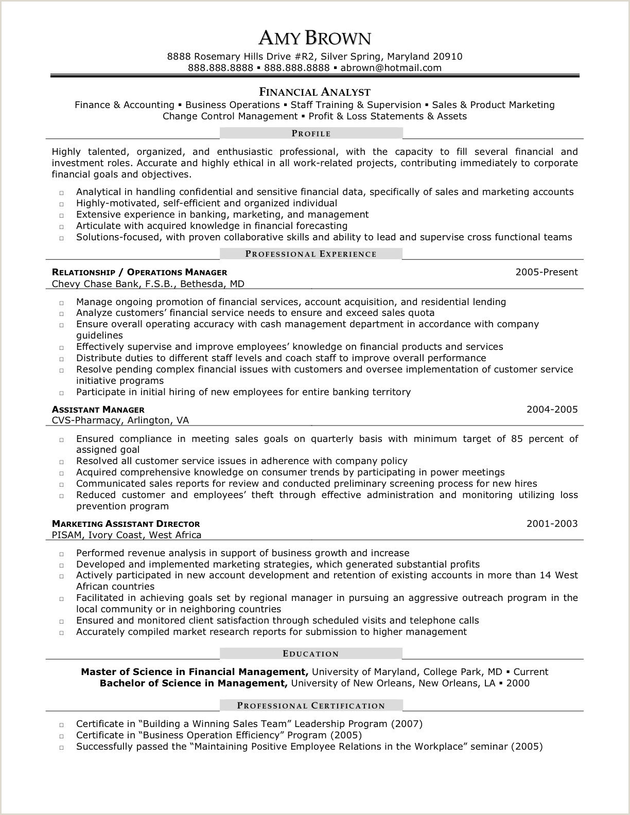 Financial Operations Analyst Resume – Salumguilher