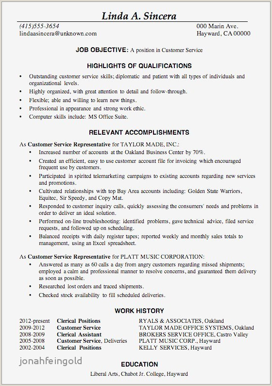 Financial Services Representative Resume Elegant Customer Service Rep Job Description for Resume