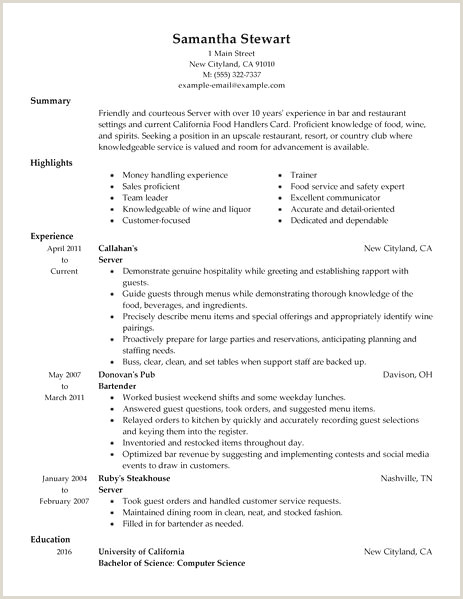 Fine Dining Server Resume Restaurant Server Resume Sample New Resume Sample Fine
