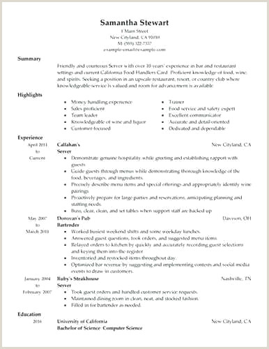 Restaurant Server Resume Sample New Resume Sample Fine