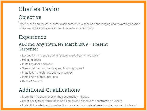 12 13 framing carpenter resume