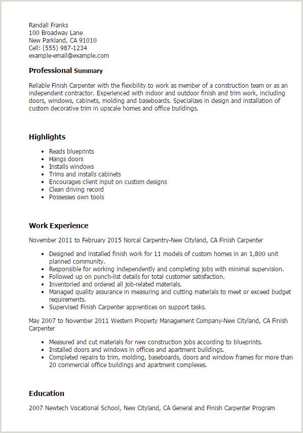 Finish Carpenter Resume 96 Carpenter Resume Examples Construction Carpenter