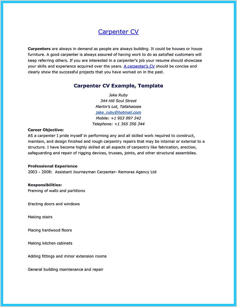 Finish Carpenter Resume Tips You Wish You Knew to Make the Best Carpenter Resume