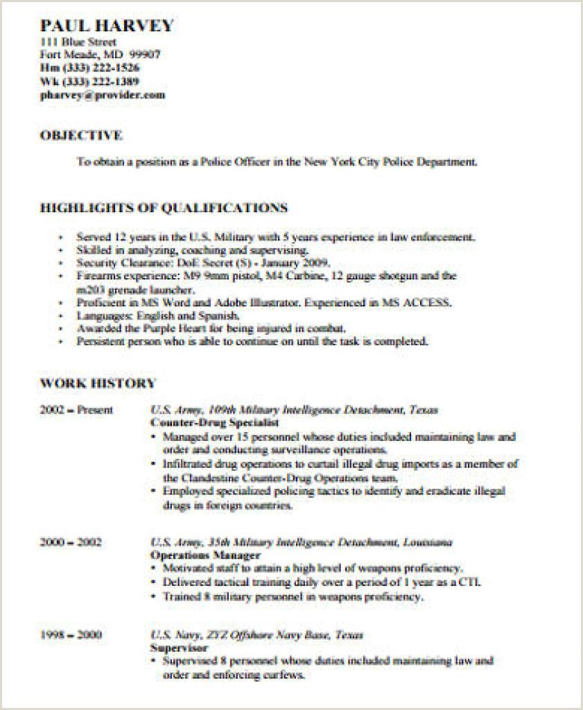 Sample Resume For Policefficer Job Descriptionbjective
