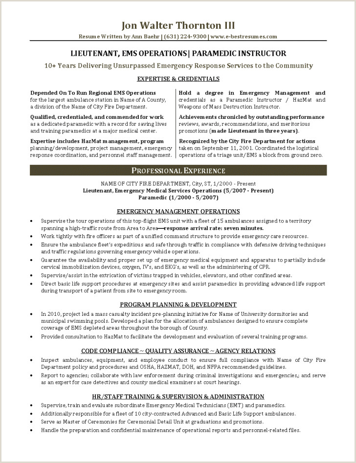 Fire Department Promotional Resume Template Emt Resume Template Emelcotest – Paramedic