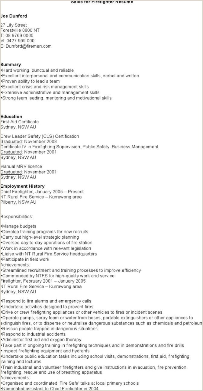 7 Firefighter Resume Templates Free Download Template Skill