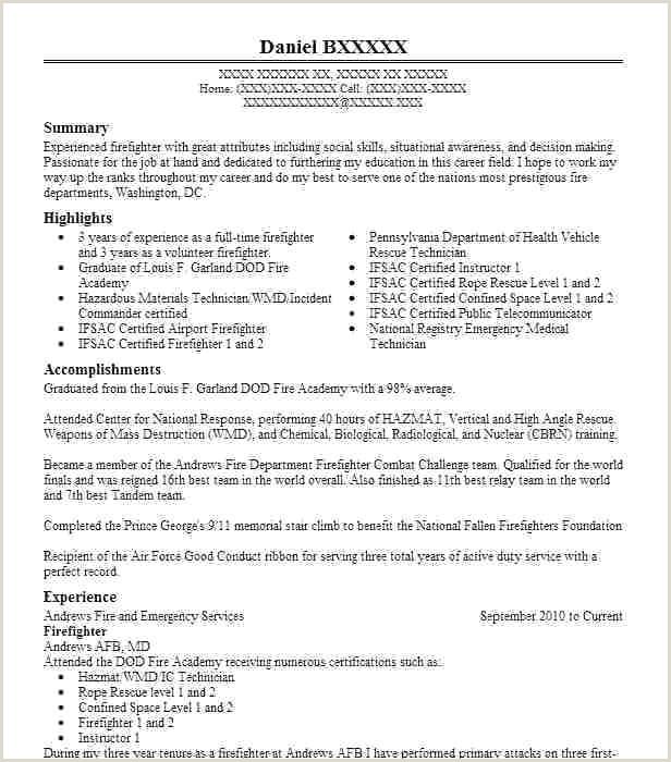 91 Firefighter Resume Templates Firefighter Resume