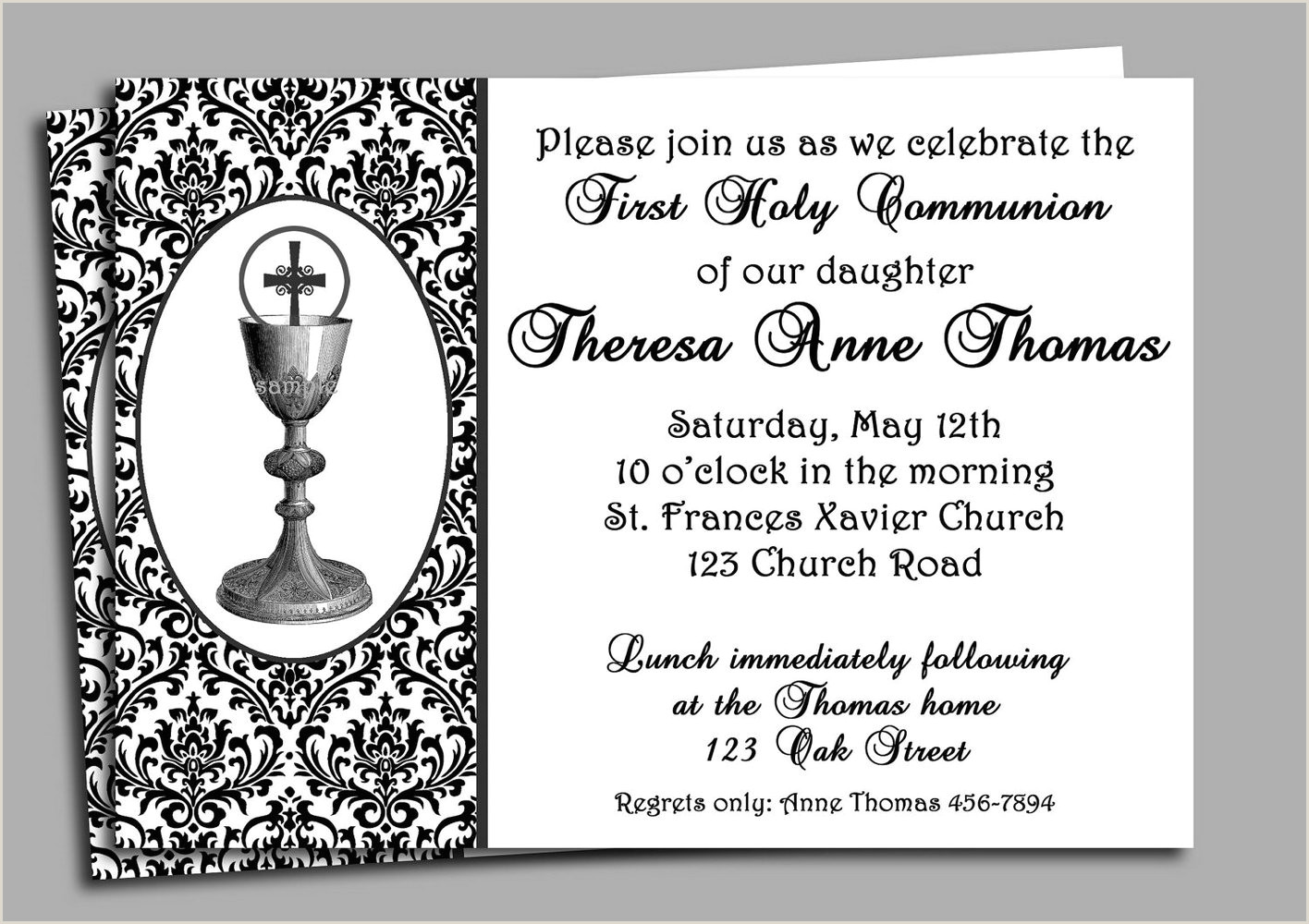 Free Printable Templates For First munion Invitations