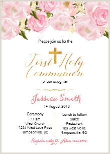 First Communion Invites Templates Girls Pink First Munion 1st Holy Munion Invitations