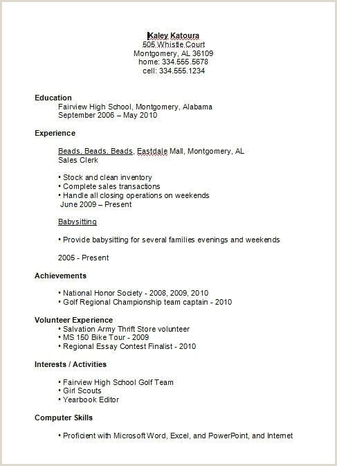 First Resume for Teenager High School Student Resume Examples First Job Business