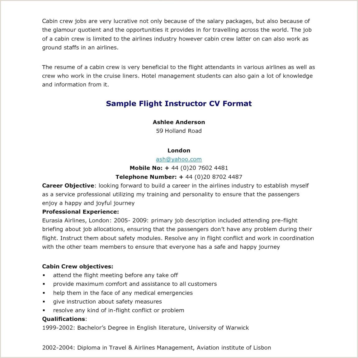 12 Sample Resume For Flight Attendants