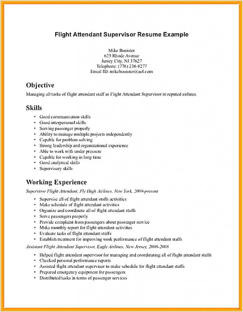 Flight attendant Resumes No Experience Elegant Flight attendant Resume No Experience – 50ger