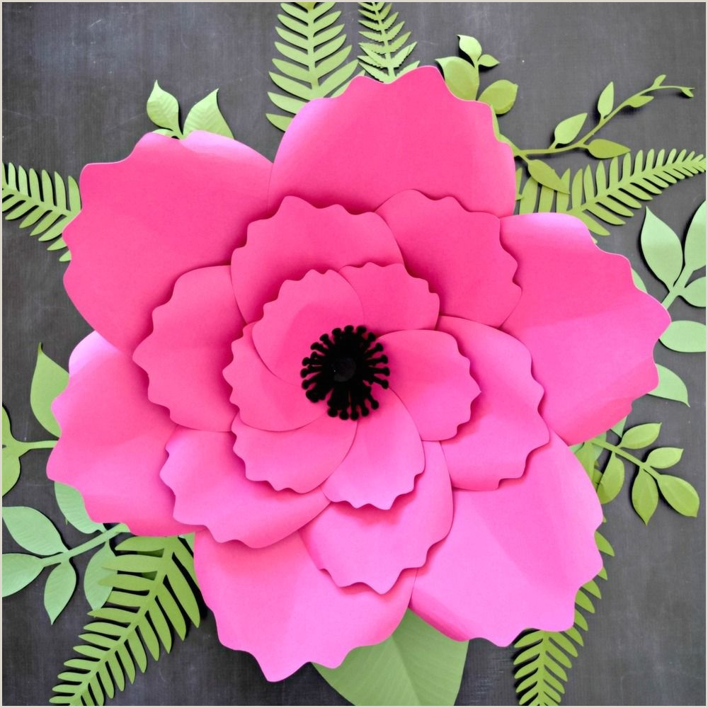 Giant Anemone Paper Flower Template with Poppy center