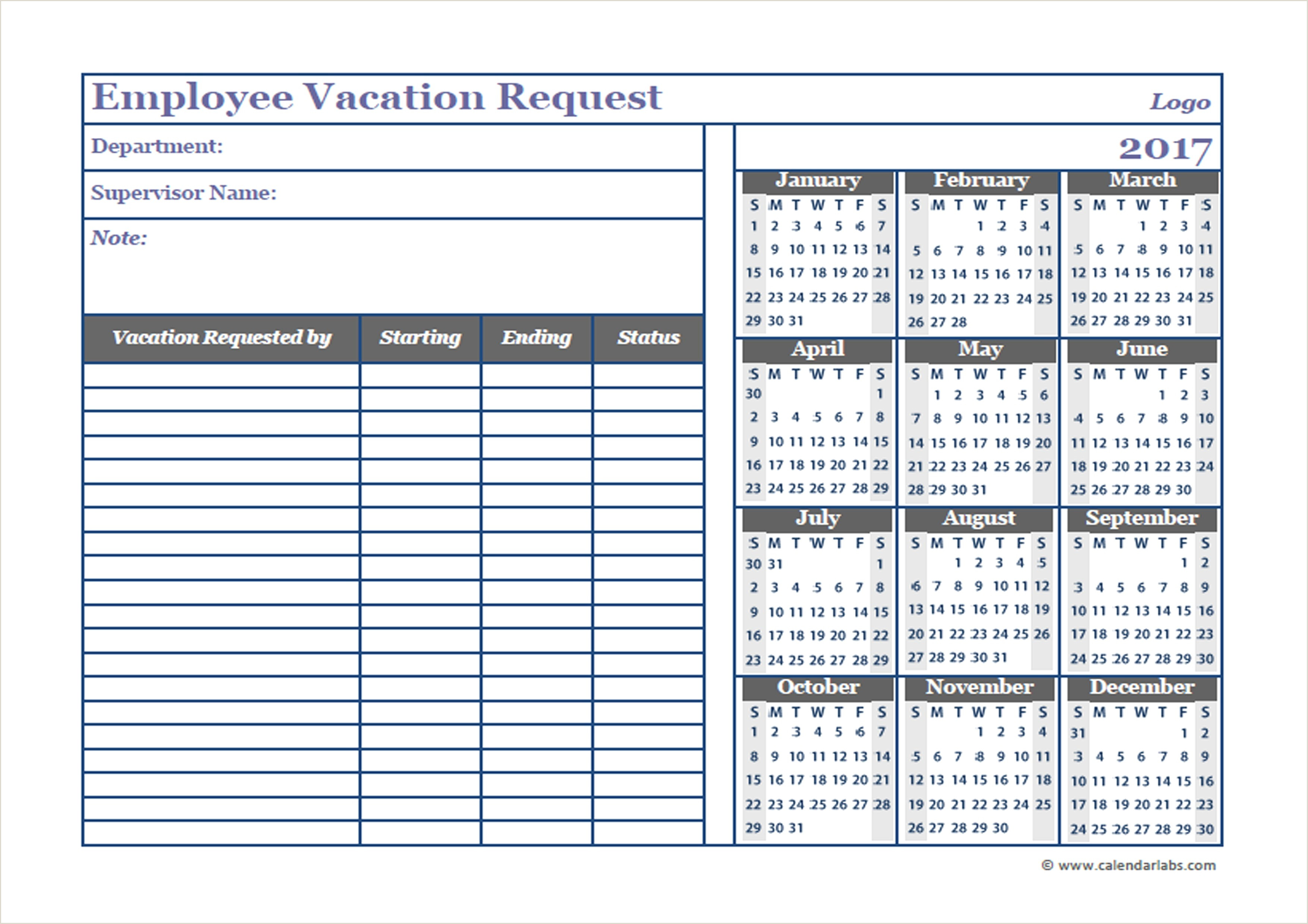 Employee Vacation Calendar Template 2017 Printable for Free