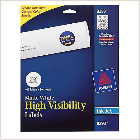 "Avery Permanent High Visibility Labels 8293 Round 1 1 2"" Diameter White Pack 400 Item"