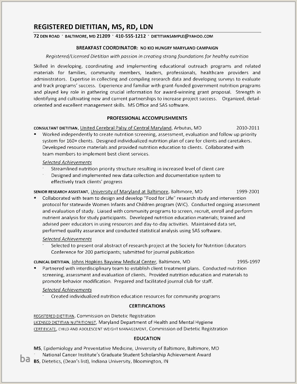 Registered Dietitian Resume Awesome Food Runner Resume
