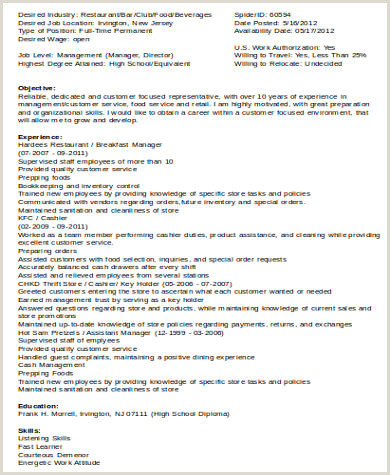 Food Service assistant Resume Food Service Resume Sample 6 Examples In Word Pdf