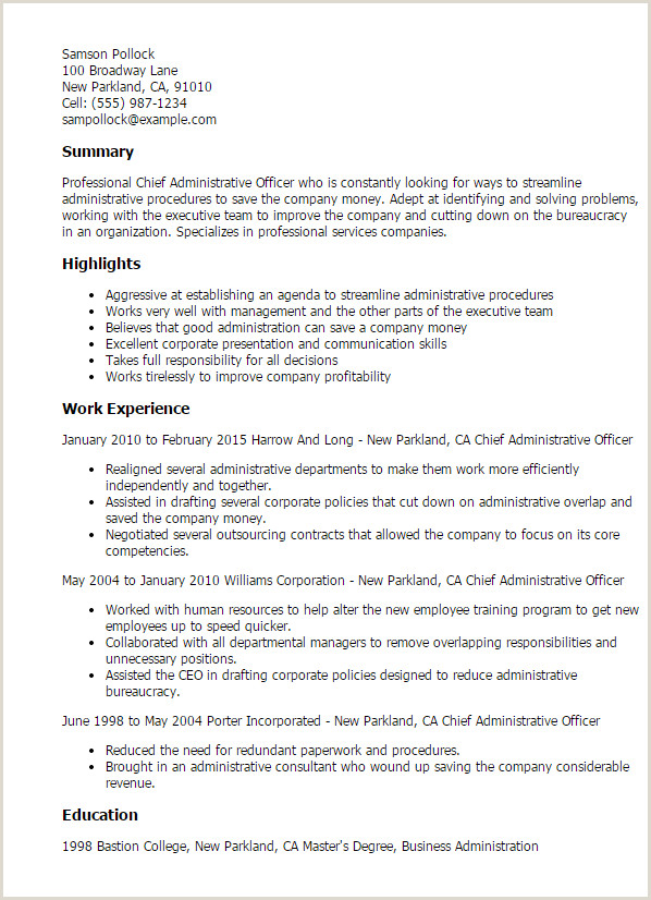 Resume Templates Chief Administrative ficer