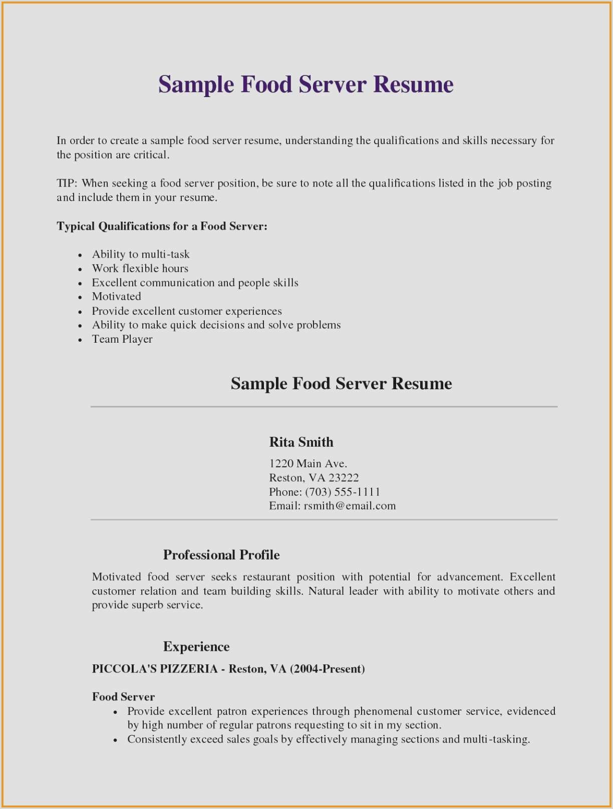 Food Server Cover Letter Examples Cover Letters for Food