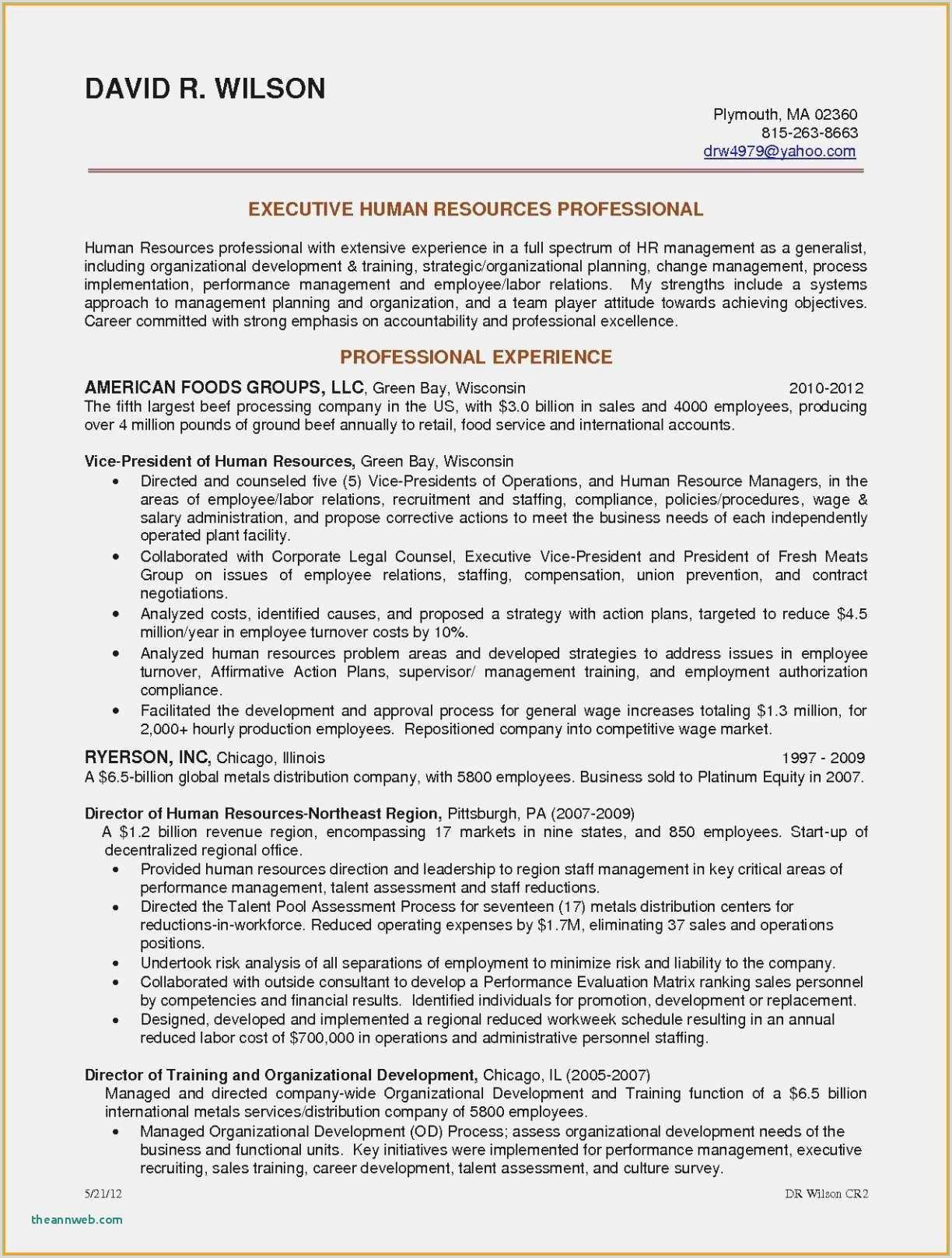 Hr Cover Letter Experience New Sample Cover Letter for