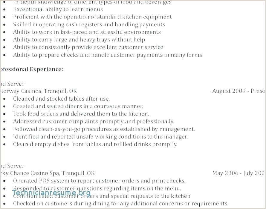 Food and Beverage Resume Skills Food and Beverage Resume