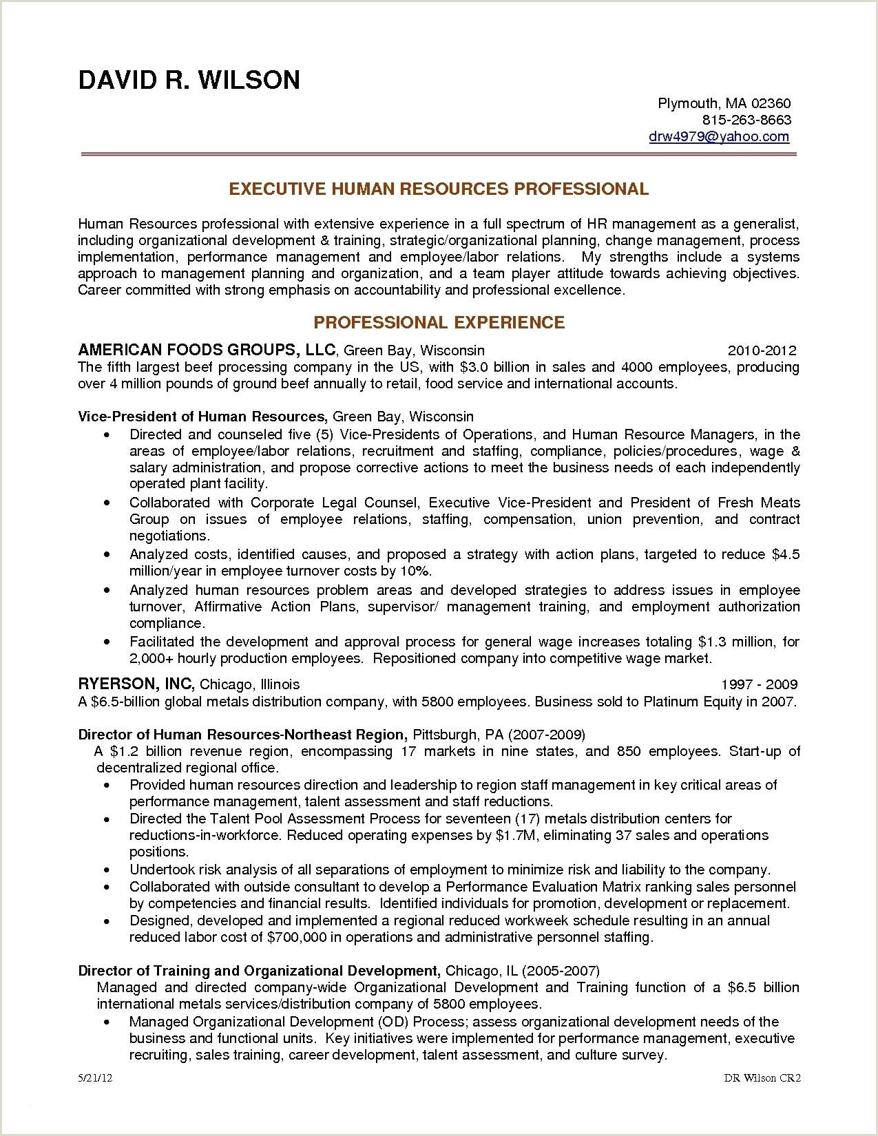Human Resources Manager Resume Human Resources Manager