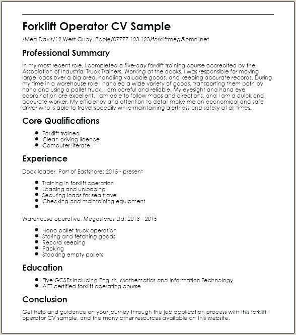 Forklift Driver Resume Samples Professional forklift Driver