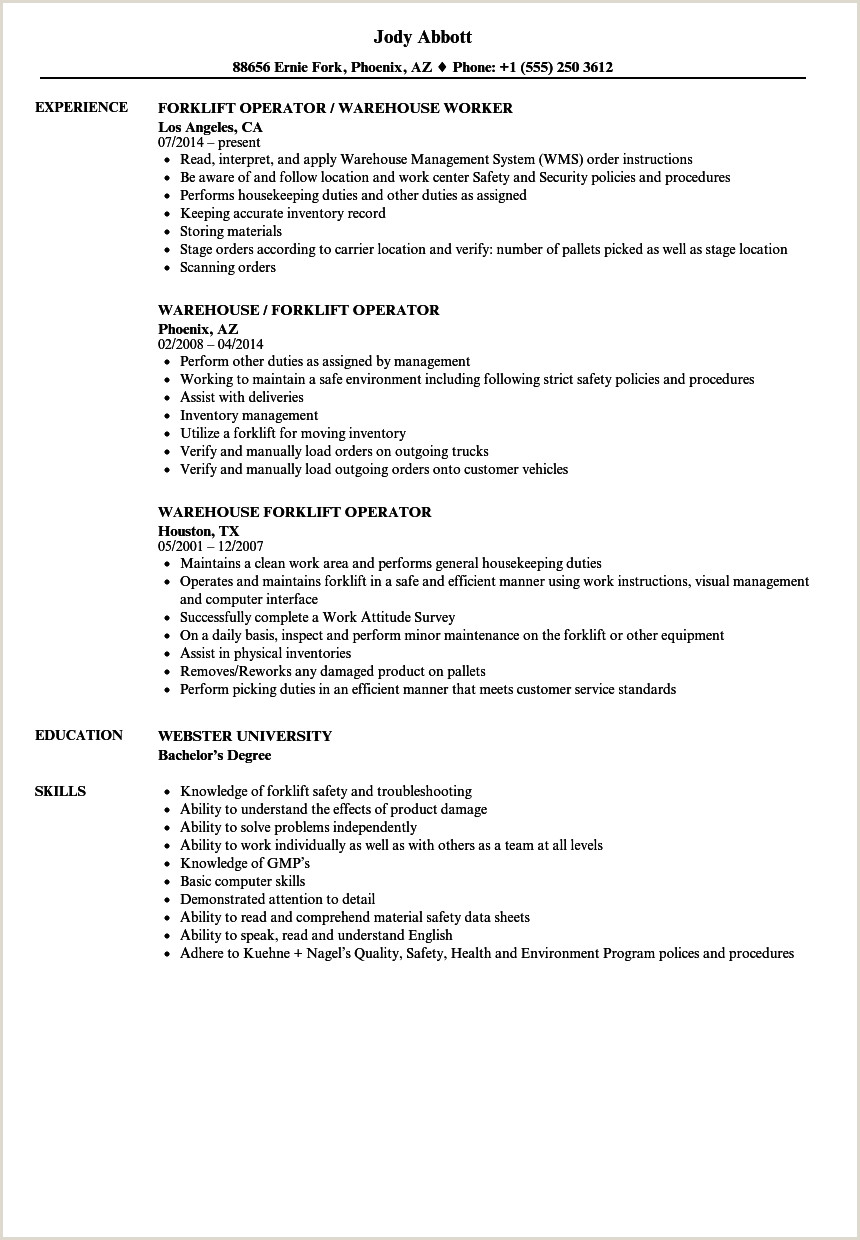 Forklift Operator Resume Sample Warehouse Certified Stock