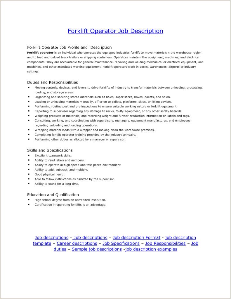 Forklift Driver Resume Resumes Sensational Idea forklift Driver Resume Operator