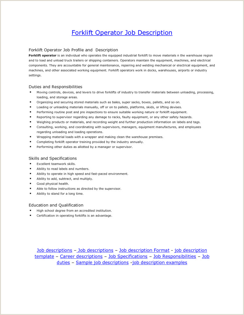 Resumes Sensational Idea Forklift Driver Resume Operator