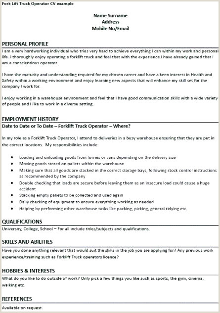 Forklift Operator Resume Examples Enhance Cv Collections De Smart Goals Template or asl