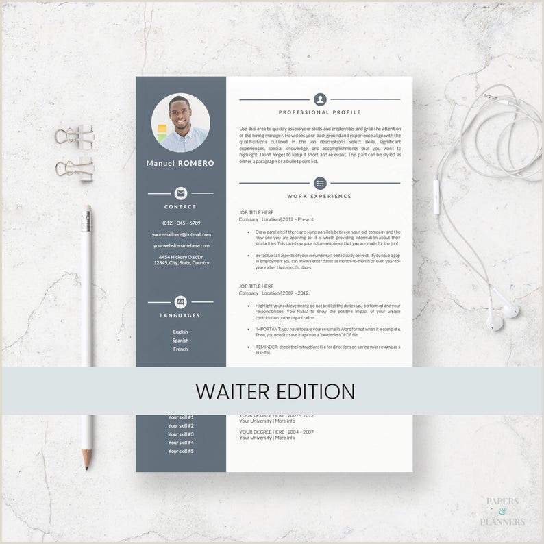 Plantilla de Currculum Vitae para camareros Currculum de 1 y 2 páginas Carta de presentaci³n Iconos