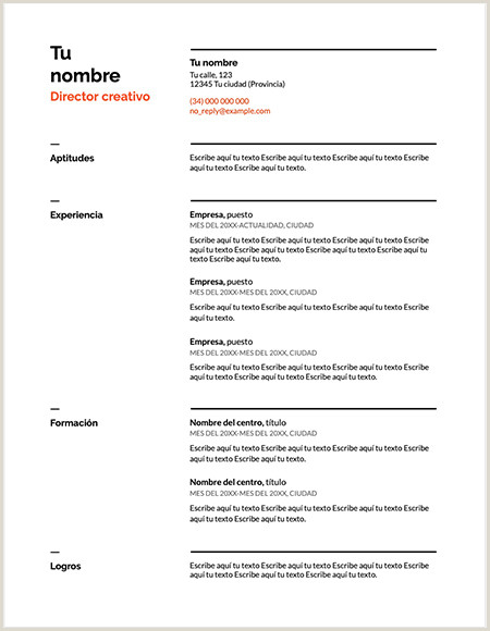 Formato De Curriculum Vitae Creativo Para Rellenar ⃞▷ Descargar Plantilla Curriculum Vitae Suizo