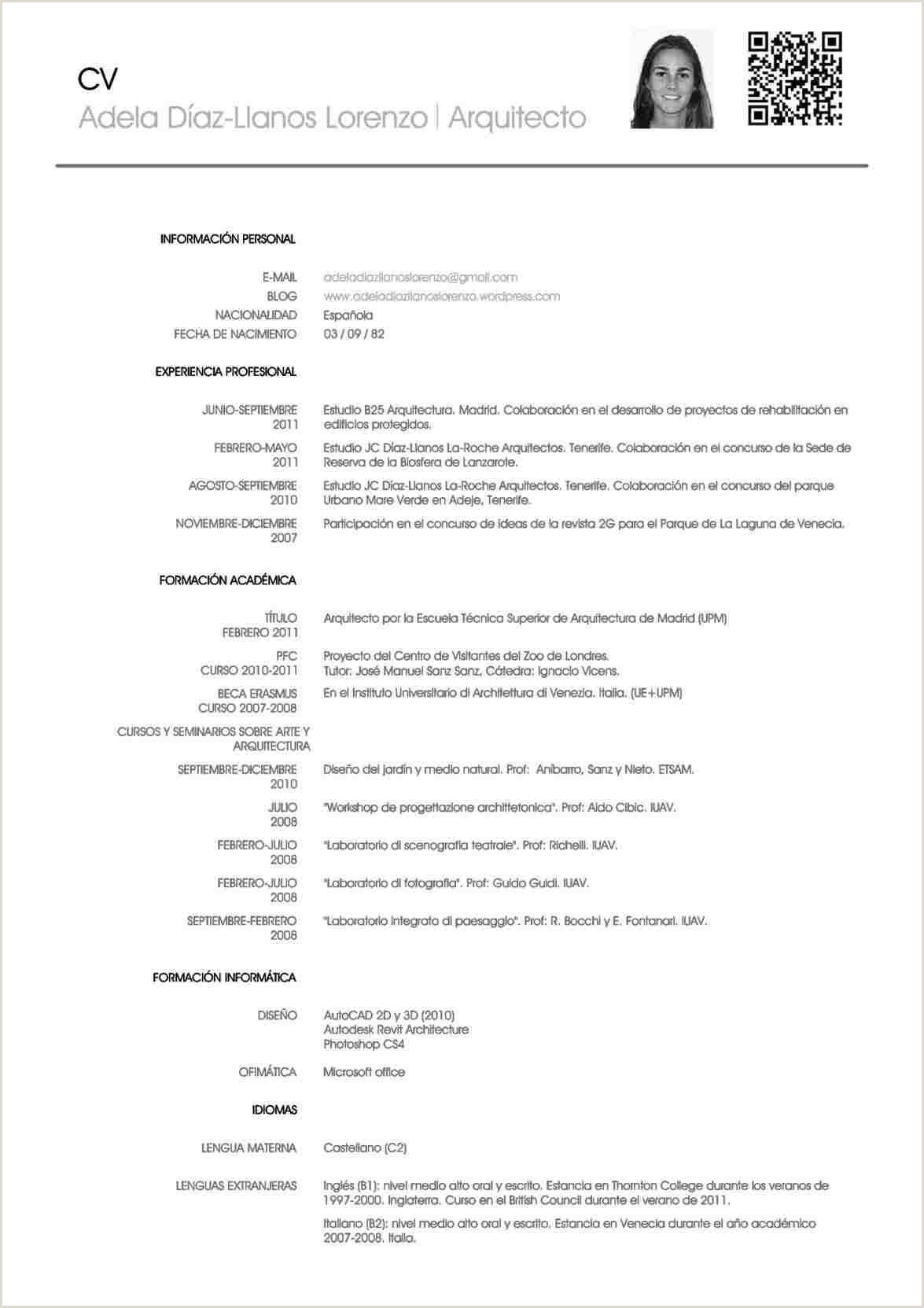 Formato De Curriculum Vitae Para Rellenar En Español Descargar Plantillas Para Curriculum Vitae Gratis En Espa±ol