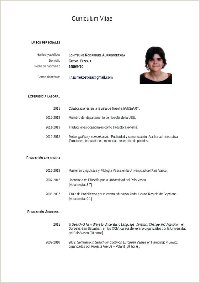 Formato De Curriculum Vitae Para Rellenar Sencillo Basic Simple Curriculum Vitae format for Students Resume