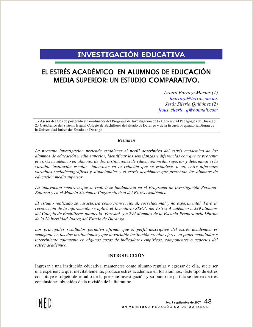 PDF El estrés académico en los alumnos de educaci³n media