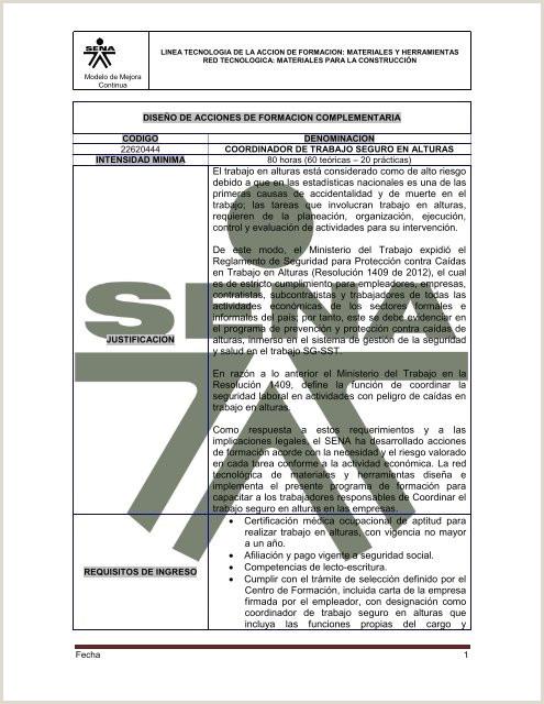 Formato De Hoja De Vida Aprendiz Sena Coordinador De Trabajo Seguro En Alturas Sena