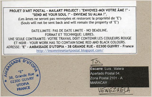 "Formato De Hoja De Vida Artistica Insomnies Et Art Postal Envoi De ""e"" A Luis Valera Escarre"