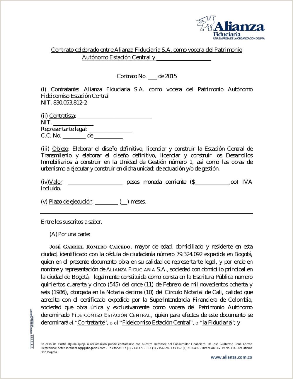 Contrato celebrado entre Alianza Fiduciaria S A o vocera
